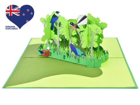 New Zealand Forest with Native Birds 3D Pop-Up Card