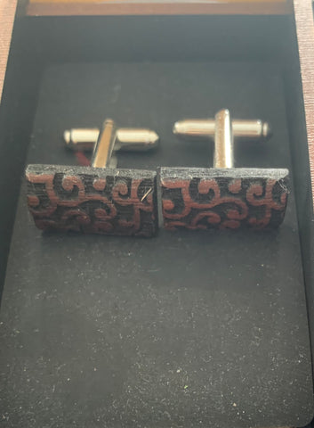 Rectangle Heartwood cuff links
