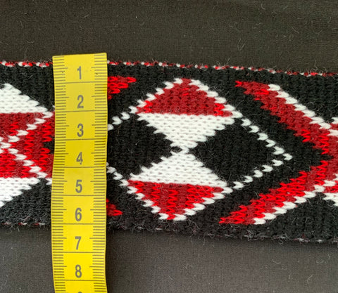 Maroon & Red Mixed Pātiki-2.5inch Taniko Band