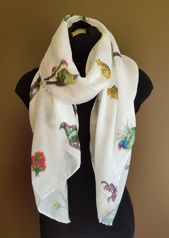 NZ Birds & Flora Scarf