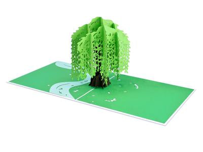 Couple on Bridge Beside Willow Tree Love Sense 3D Pop-Up Card