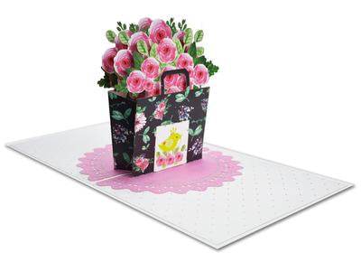 Pink Rose Basket 3D Pop-Up Card
