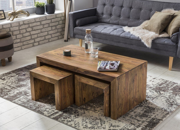 Solid Wood Cube Coffee Table Set of 3 pcs
