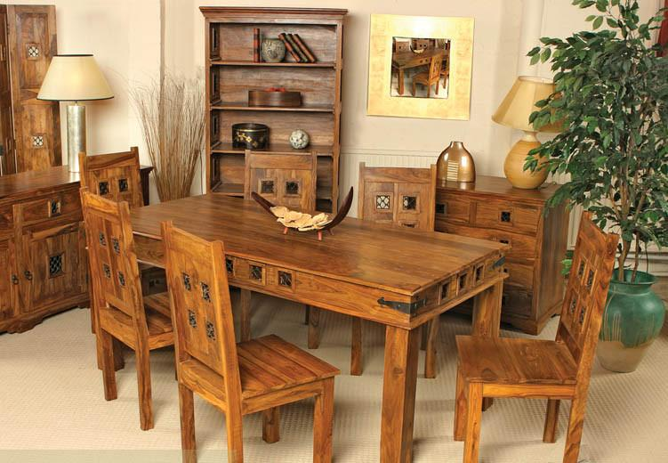 Solid Wood Jali Block Dining Set - Saraf Furniture