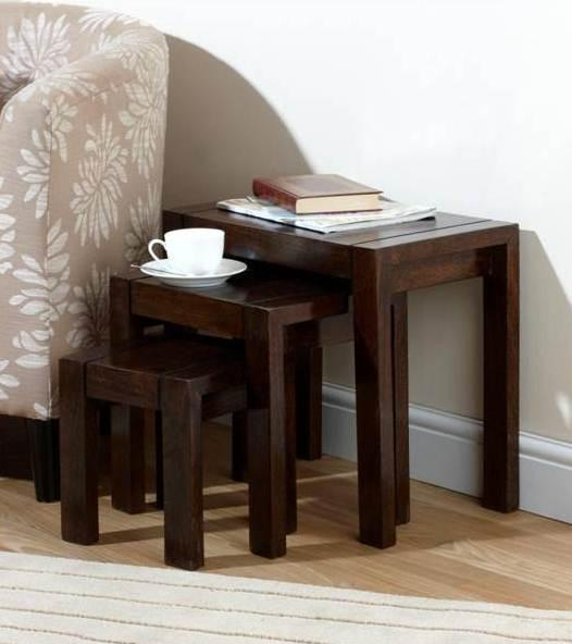 Solid Wood Cubex Stool Set of 3