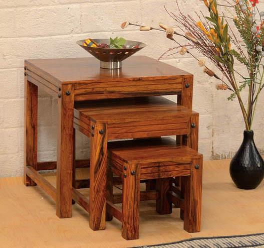 Solid Wood Jodhpur Stool Set of 3