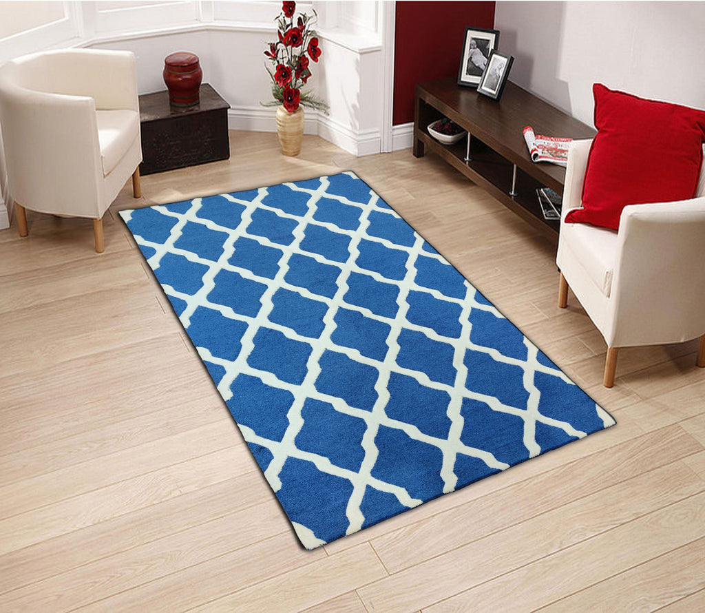 Vibe Blue Hand Tufted Wool Carpet 8 x 5