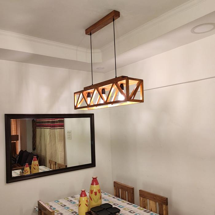 Solid Wood Symmetric Centrum Hanging Light With Brown Base