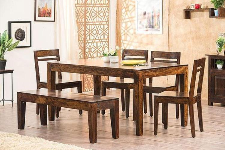 Solid Wood Teffe Dining Set with Bench ( 6 Seater )
