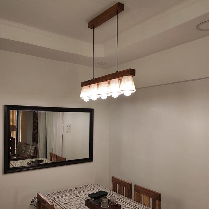 Solid Wood Hexa Hanging Light With Brown Base