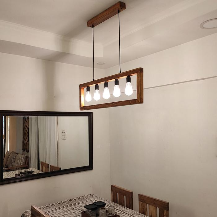 Solid Wood Abacus Hanging Light With Brown Base