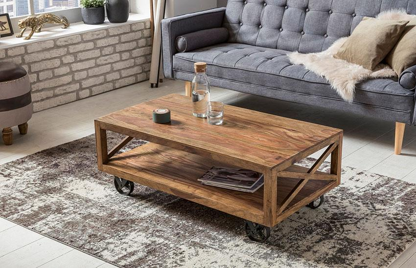 Solid Wood Crossia Retro Roller Wheel Coffee Table