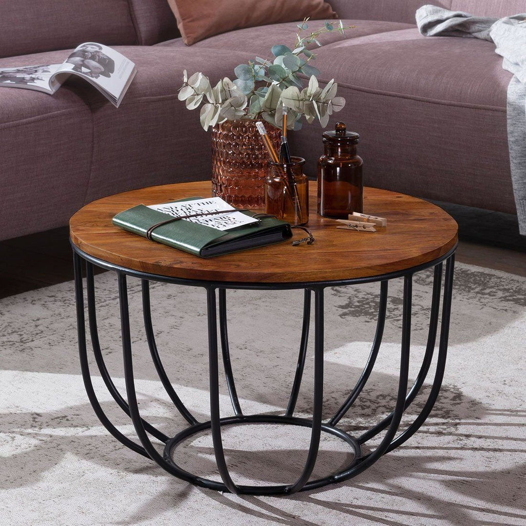 Solid Wood Indiana Bowed Round Coffee Table