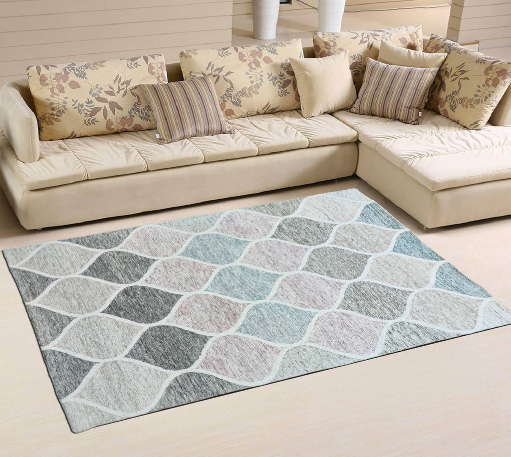 Pastel Hand Tufted Wool Carpet 8 x 5