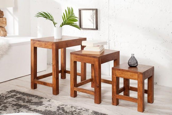 Solid Wood Turner Stool set of 3