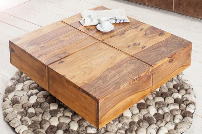 Solid Wood Contrast Square Coffee Table