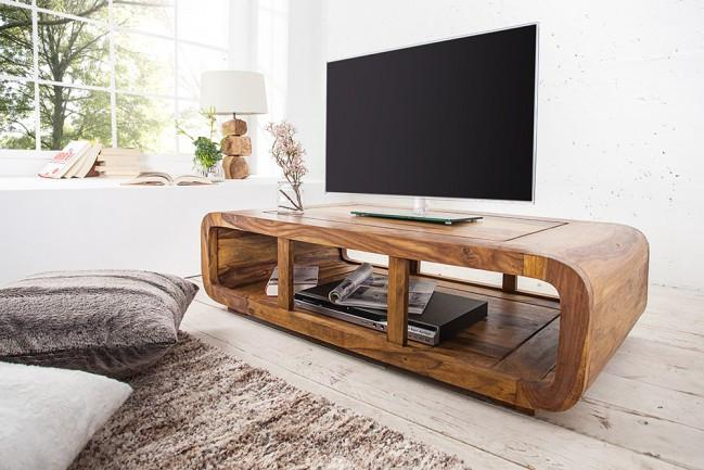 Solid Wood Curved Tv Unit