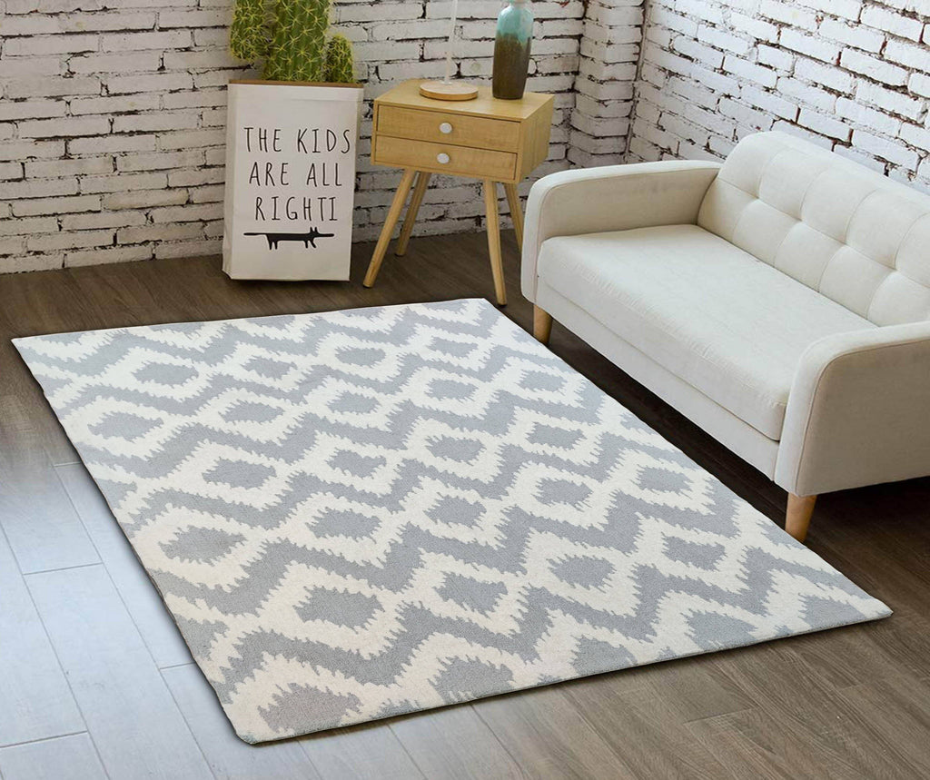 Rhofus Grey Hand Tufted Wool Carpet 8 x 5