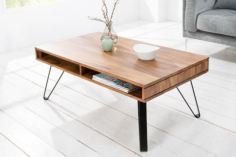 Copy of Solid Wood INDIANA Shine Coffee Table with Shelf