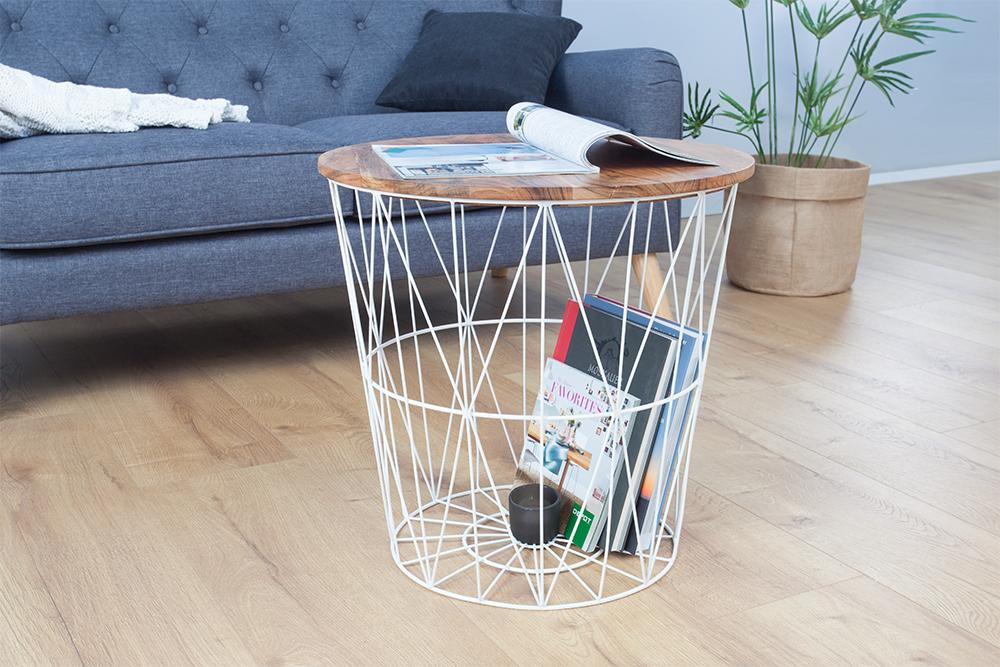 Solid Wood Burrow Lamp Table Basket