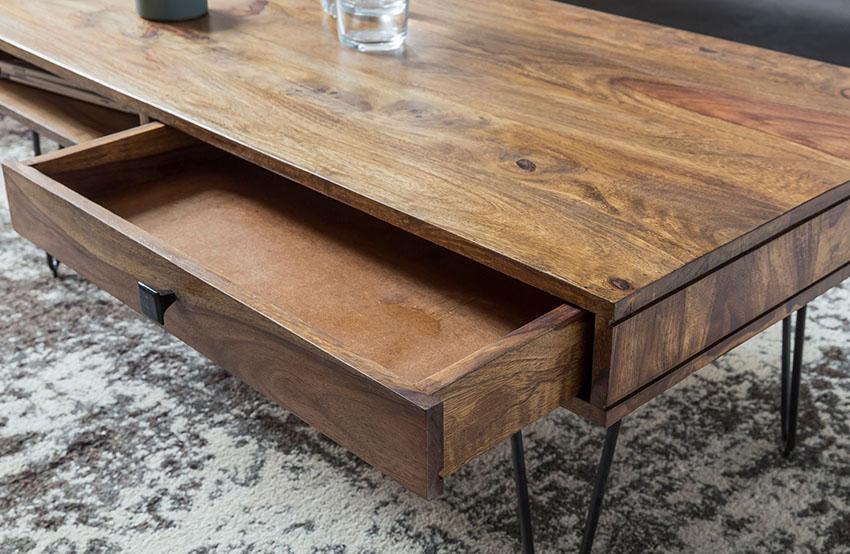 Solid Wood Shine Coffee Table with 2 Drawers