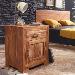 Solid Wood Cube Bedside Table