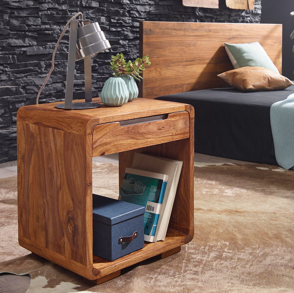 Solid Wood Curved Bedside with Drawer