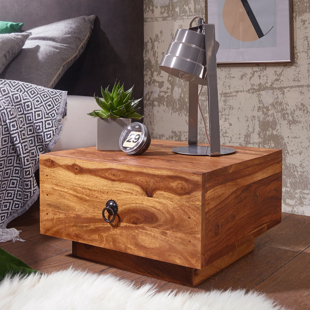 Solid Wood Capital Bedside with Drawer