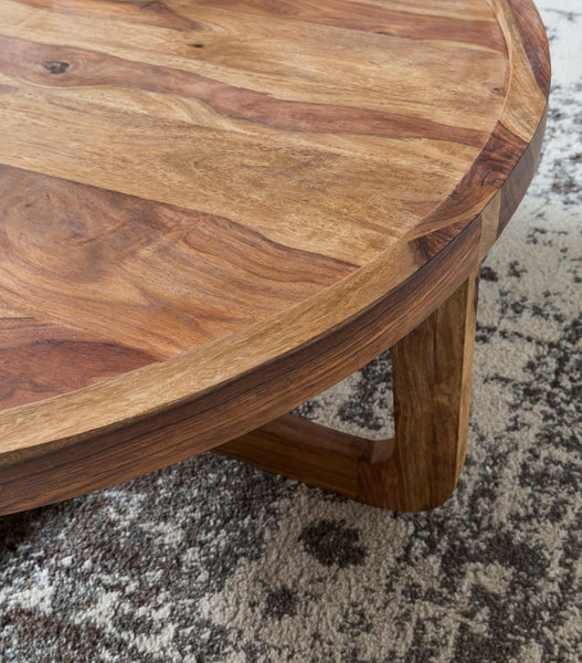 Solid Wood Curved Round Coffee Table