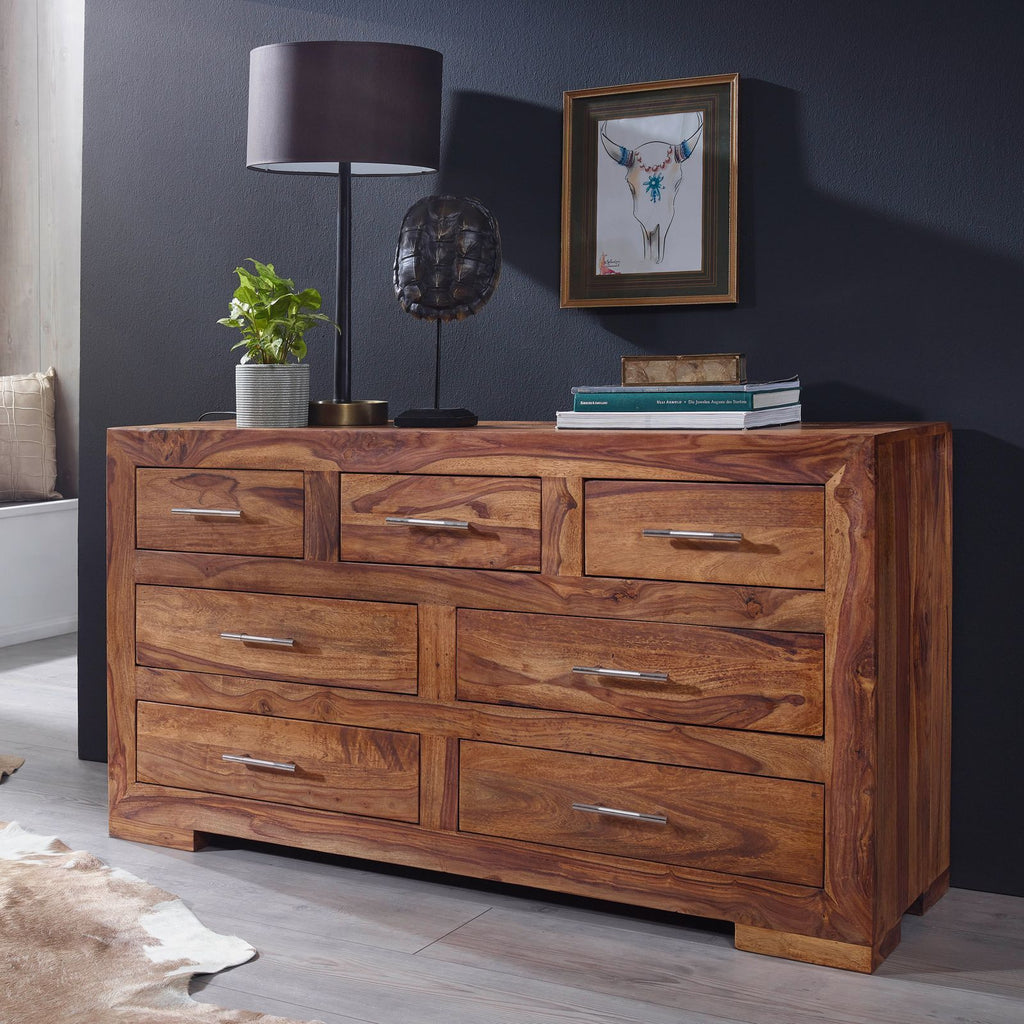 Solid Wood Cube 7 Drawer Chest