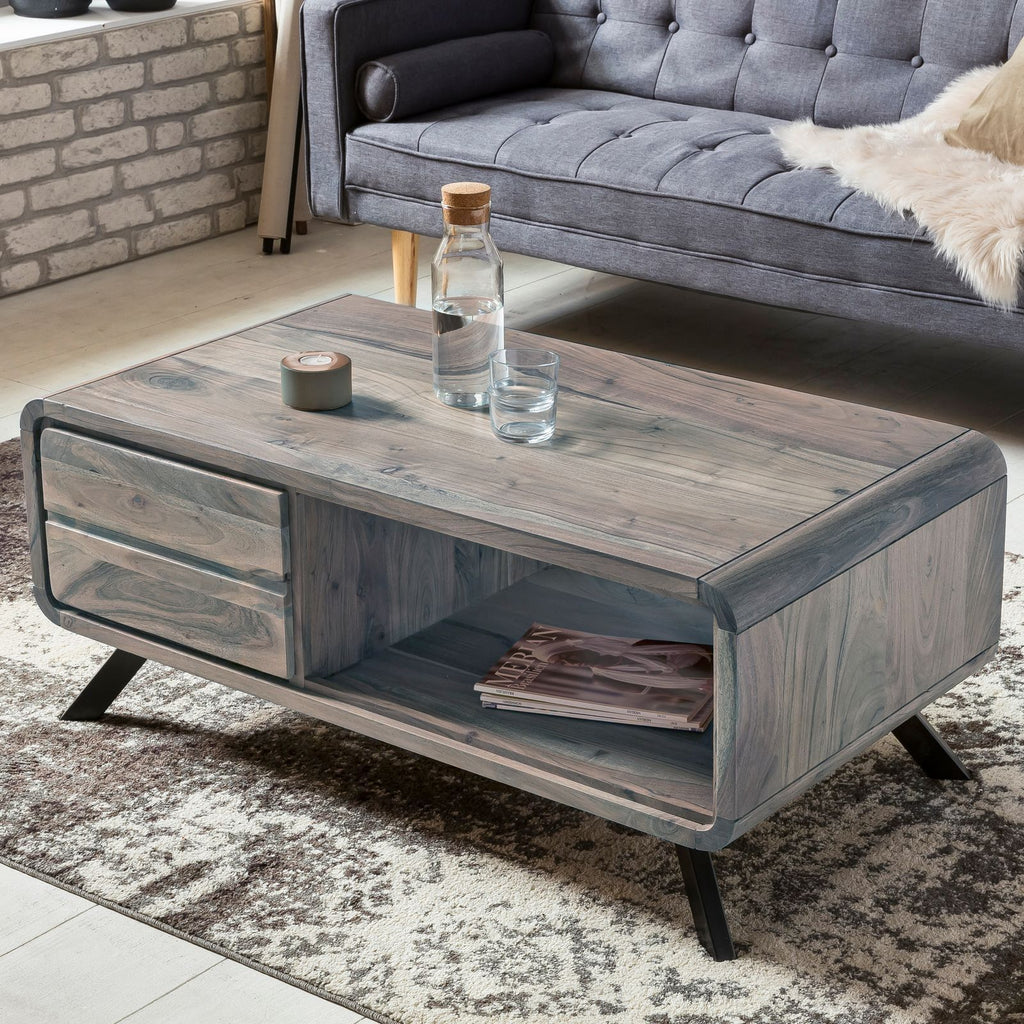 Solid Wood INDIANA Dusk Coffee Table with Drawer