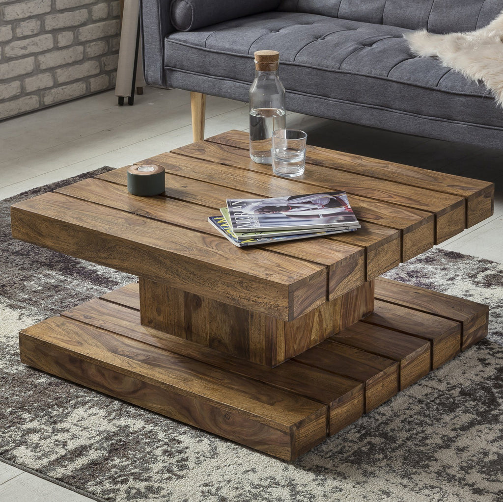 Solid Wood Groove Square Coffee Table