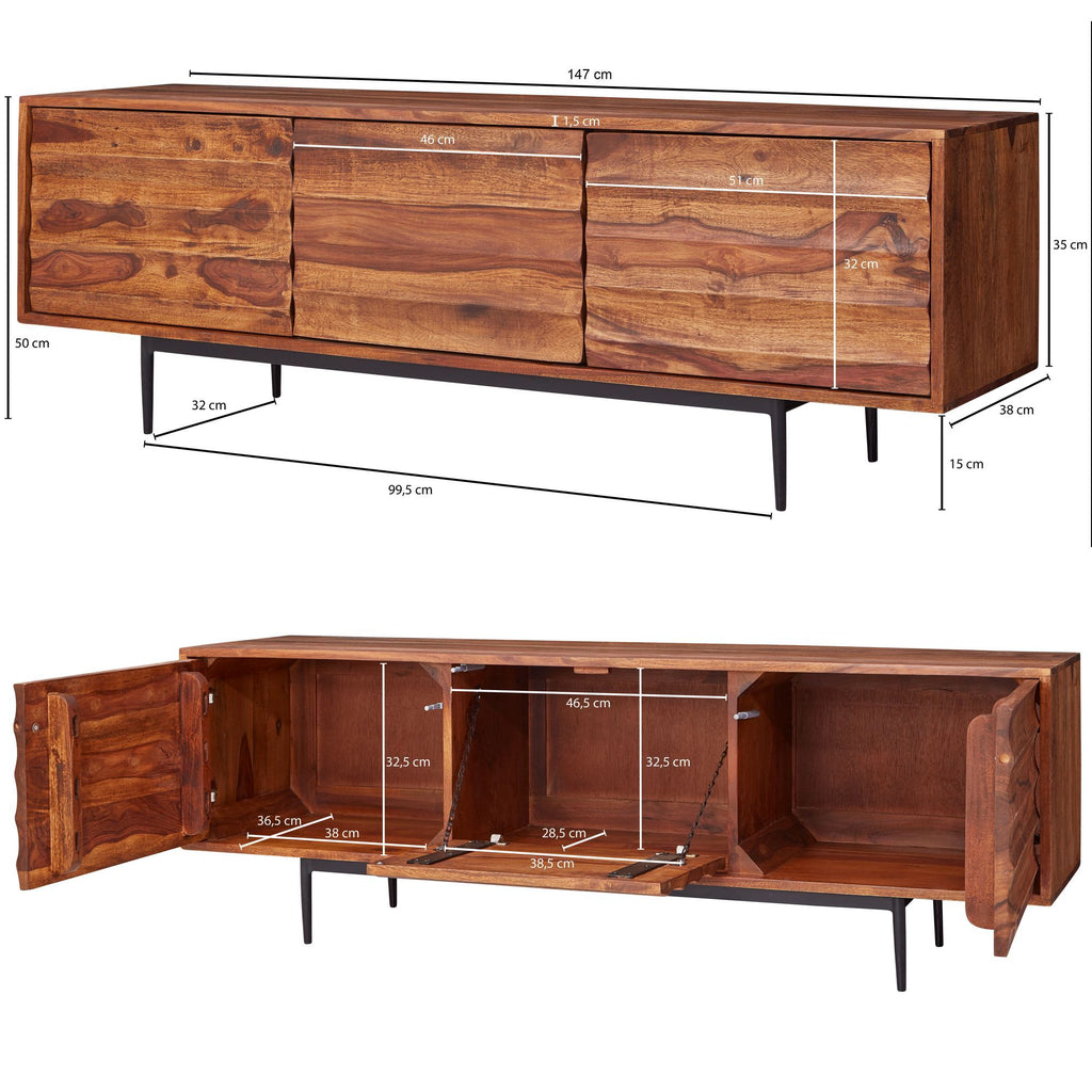 Solid Wood INDIANA Crest Tv Unit
