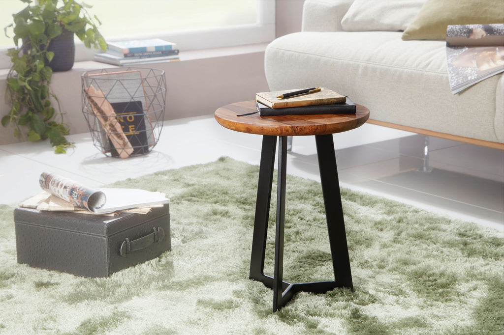 Solid Wood Zig Stool Lamp Table