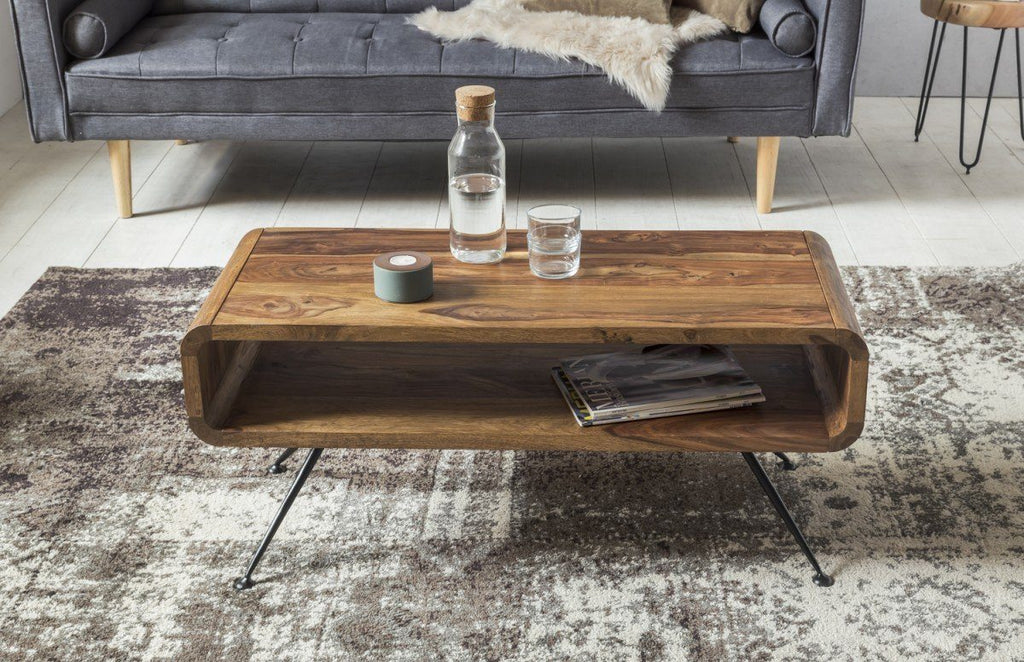 Solid Wood Curved Rocket Coffee Table