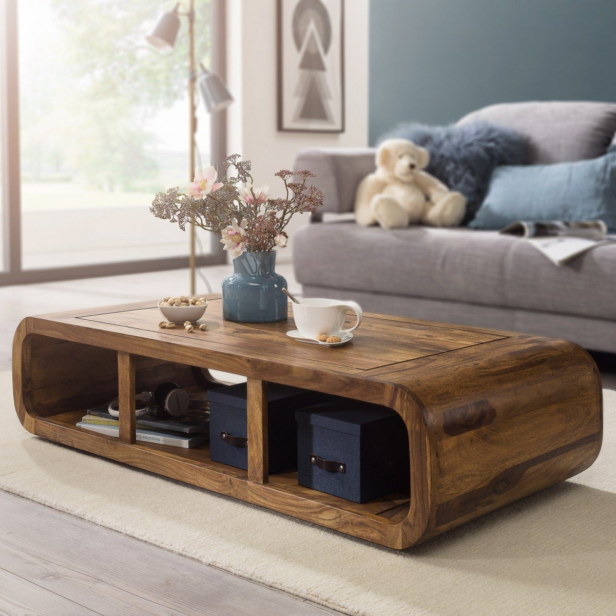 Wooden Coffee Table.Solid Wood Curved Coffee Table