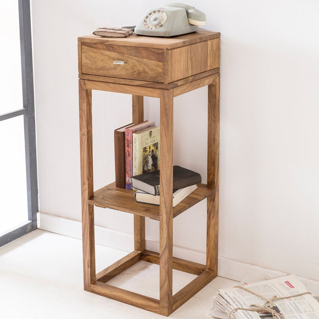 Solid Wood Cube Telephone Table