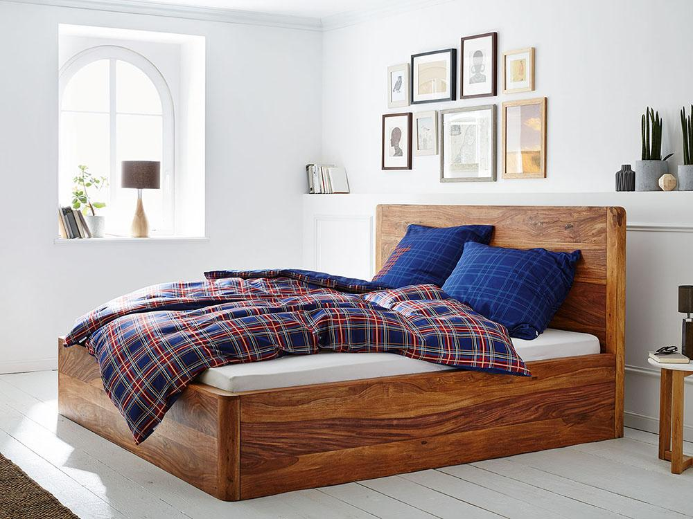 Solid Wood Curved Bed with Storage