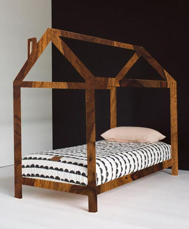 Solid Wood Charlie Kids Canopy Hut Poster Bed