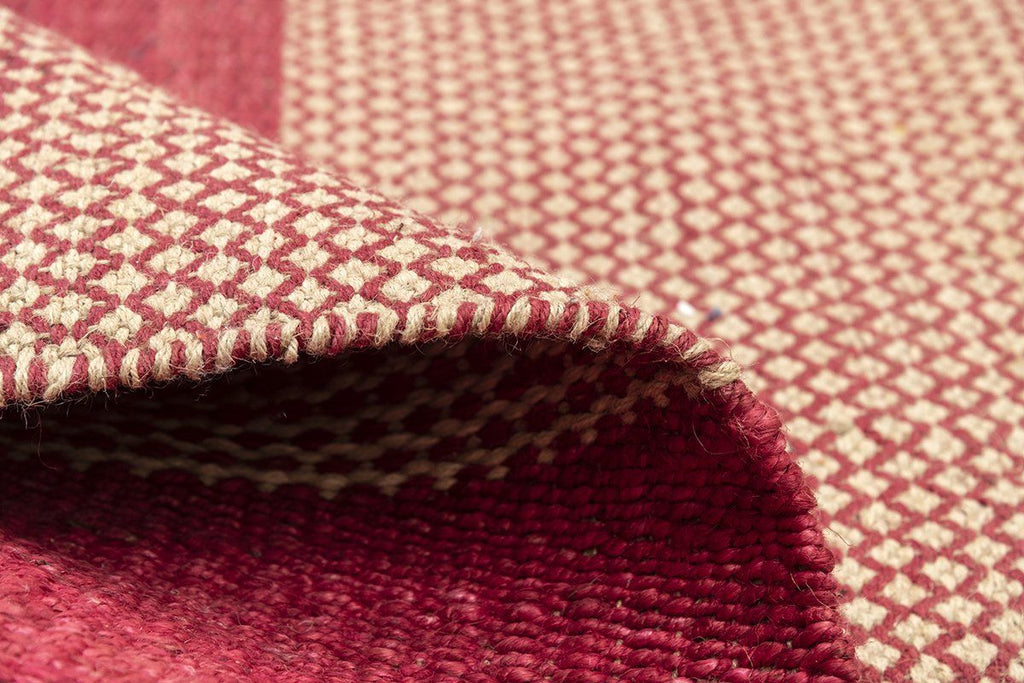 Moreno Fuschia Shuttle Weave Durrie With Hamming