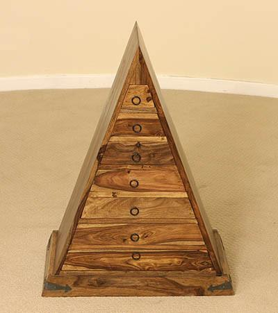 Solid Wood Jali Pyramid Drawer Chest