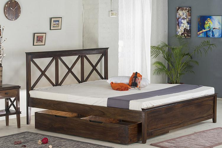 Solid Wood New Crossia Bed