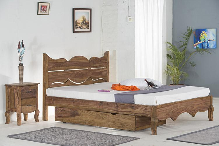 With Trolley Storaage - Solid Sheesham Wood bed - Tania Grand Bed