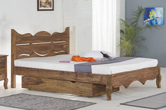 With Trolley Storage - Solid Sheesham Wood bed - Tania Grand Bed