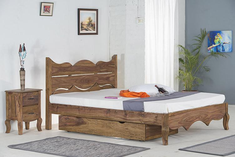 With Trolley - Solid Sheesham Wood bed - Tania Grand Bed