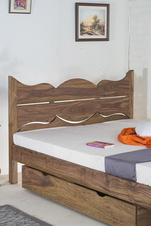 With Trolley- Solid Sheesham Wood bed - Tania Grand Bed