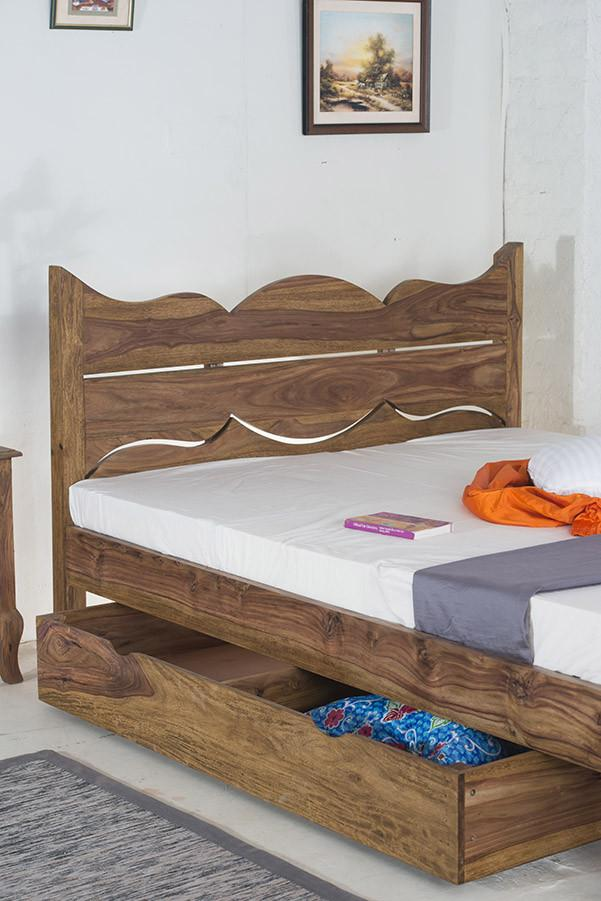 With Trolley Solid Sheesham Wood bed - Tania Grand Bed