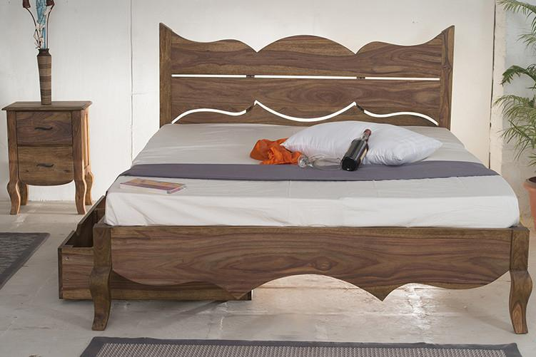 With Trolley Storaage -Solid Sheesham Wood bed - Tania Grand Bed