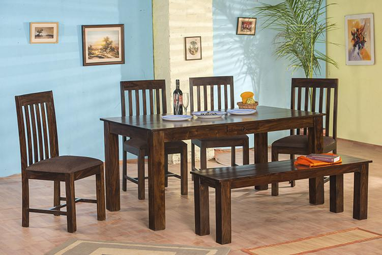 4fb9416f43c 6 Seater Set (1 Table + 4 Chairs + 1 Bench). Quick View · Solid Wood Turner Dining  Set ( With Bench   Drawers )