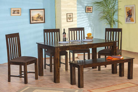 6 Seater Set (1 Table + 4 Chairs + 1 Bench)